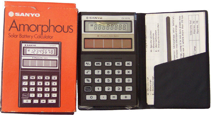 [Sanyo CX 2570 Amorphous Solar Calculator with box and case]